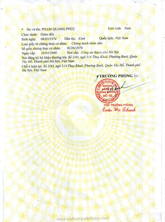 Vietnam Pathfinder Travel Company Busines License